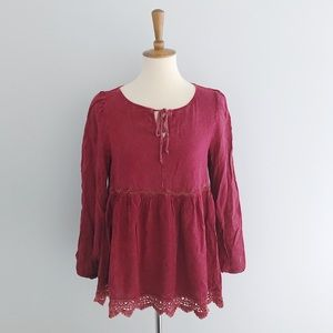 Altar'd State Red Long Sleeve Blouse Size Small